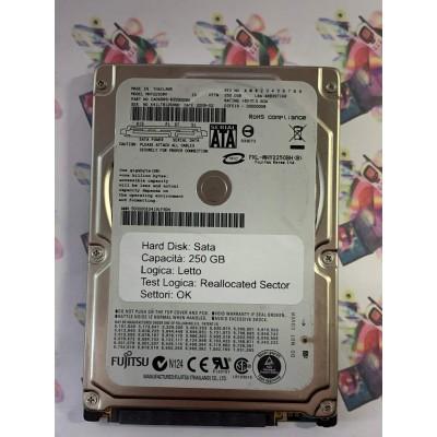 """Hard Disk Usato Semifunzionante Sata 2,5"""" 250Gb FUJITSU MHY2250BH"""