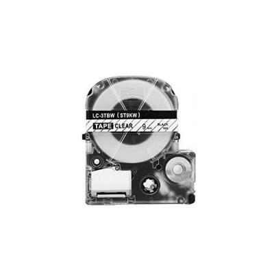 Nastro per Etichettatrice Epson LK3TBN 9mm x 8m Nero su Trasparente No Oem