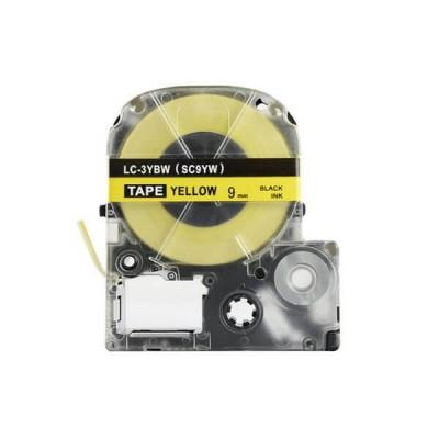 Nastro per Etichettatrice Epson LK3YBP 9mm x 8m Nero su Giallo No Oem
