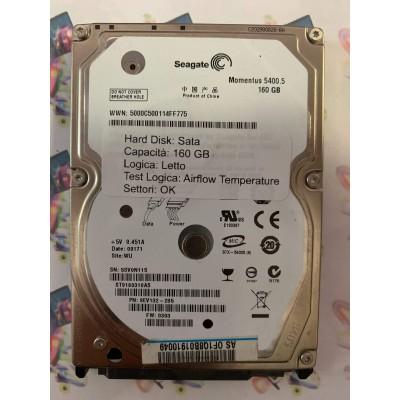 """Hard Disk Usato Semifunzionante Sata 2,5"""" 160Gb SEAGATE MOMENTUS 5400.5 ST9160310AS 9EV132-285"""