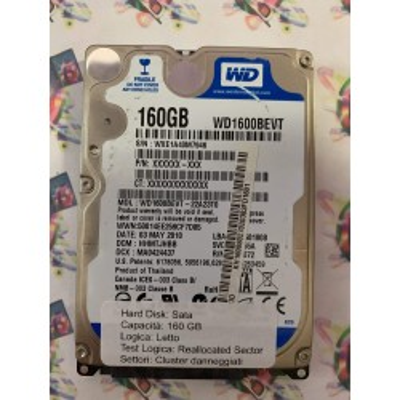 """Hard Disk Usato Semifunzionante Sata 2,5"""" 160Gb WESTERN DIGITAL WD1600BEVT HHMTJHBB"""