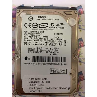 """Hard Disk Usato Semifunzionante Sata 2,5"""" 250Gb HITACHI 5K500 B-250 2009 0A78252"""