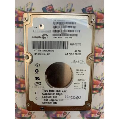 """Hard Disk Usato Funzionante 100% Ok IDE 2,5"""" 40GB SEAGATE ST94019A 9Y1422-031 05255 AMK"""