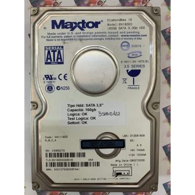 "Hard Disk Usato Funzionante 100% Ok SATA 3,5"" 160GB MAXTOR 6V160E0 6V160E003631B VA111900 09 OCT 2006"