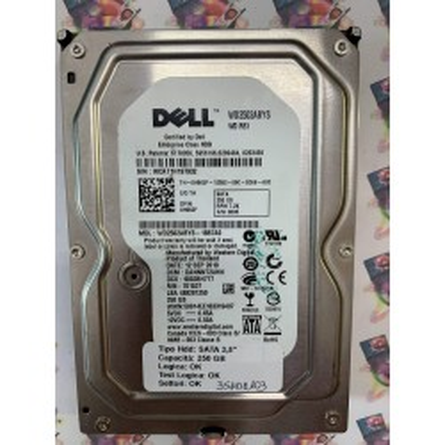 """Hard Disk Usato Funzionante 100% Ok  SATA 3,5"""" 250Gb DELL WD2502ABYS WD2502ABYS-18B7A0 DANNNT2AHN 701537"""