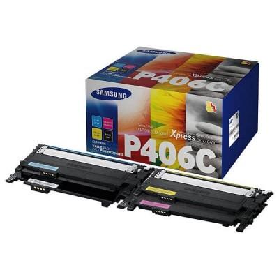 Confezione 4 Toner Originali Samsung HP CLTP406CELS SU375A C406 BK C M Y