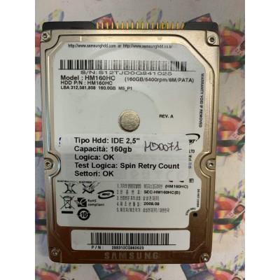 """Hard Disk Usato Semifunzionante IDE 2,5"""" 160GB SAMSUNG HM160HC 288312CQ862623 2008.08"""