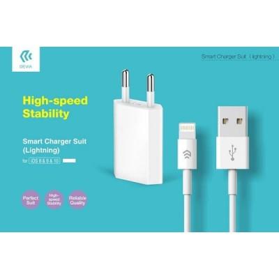 Carica Batterie USB 2.1A Devia DESSI515W Bianco per Iphone + Cavo Dati 1mt
