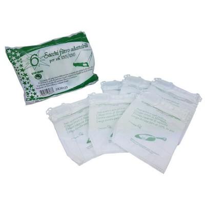 Confezione 6 Sacchi in microfibra Adattabili per Folletto VK135 VK136