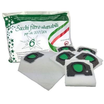 Confezione 6 Sacchi in microfibra Adattabili per Folletto VK200 VK201
