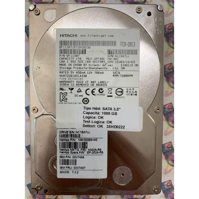 "Hard Disk Usato Funzionante 100% Ok SATA 3,5"" 1000gb HITACHI HUA722010CLA330 0F11387 JPT3HC 3HC FEB-2013"