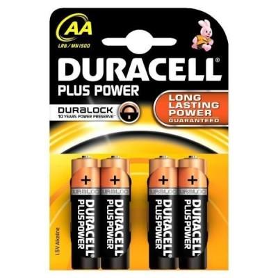 Blister 4 Batterie Duracell AA Stilo 1,5v MN1500 Plus Power