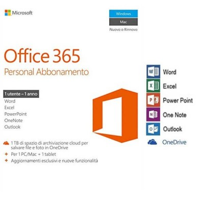 Microsoft Office 365 Personal Abbonamento 1 Utente 1 Anno BOX No Disco Word Excel PowerPoint OneNote Outlook