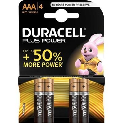 Blister 4 Batterie Duracell AAA LR03 MN2400 Ministilo 1,5v Plus Power