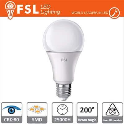 Lampadina LED FSL A60 E27 9W luce 60W A+ Luce Calda 3000K 800LM 25000 ore