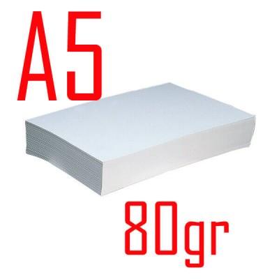 Carta A5 per Stampanti o Fotocopiatori 500 Fogli 80 Grammi Bianca