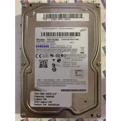 "Hard Disk Usato Funzionante 100% Ok SATA 3,5"" 1000gb SAMSUNG HD103SI 61821-B741-AR191 2010.06"