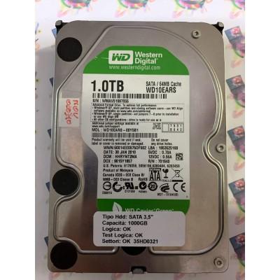 """Hard Disk Usato Funzionante 100% Ok SATA 3,5"""" 1000gb WESTERN DIGITAL WD10EARS-00Y5B1 HHRYNT2MA 9015Y1857 30 JAN 2010"""