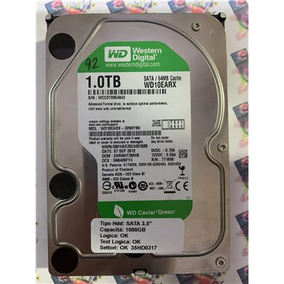 """Hard Disk Usato Funzionante 100% Ok SATA 3,5"""" 1000gb WESTERN DIGITAL WD10EARX-32N0YB0 EHRNHT2MHB 5N0400FY4 07 SEP 2012"""