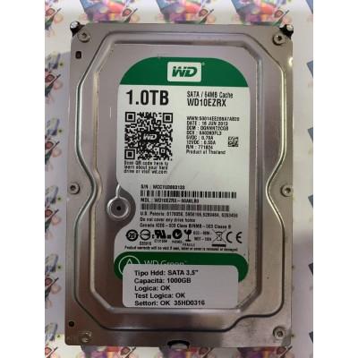 "Hard Disk Usato Funzionante 100% Ok SATA 3,5"" 1000gb WESTERN DIGITAL WD10WZRX-00A8LB0 DGNNNT2CGB 0A0383FL3 16 JUN 2013"