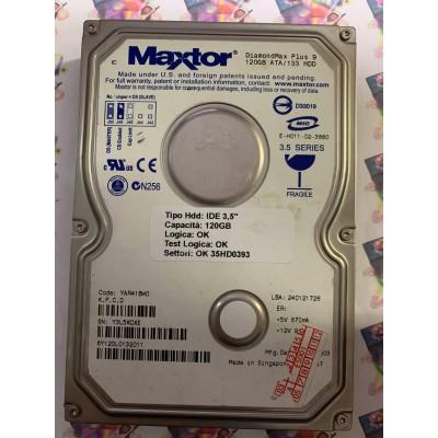 """Hard Disk Usato Funzionante 100% Ok IDE 3,5"""" 120GB MAXTOR 6Y120L0 6Y120L0132011 YAR41BW0 27DEC2003"""