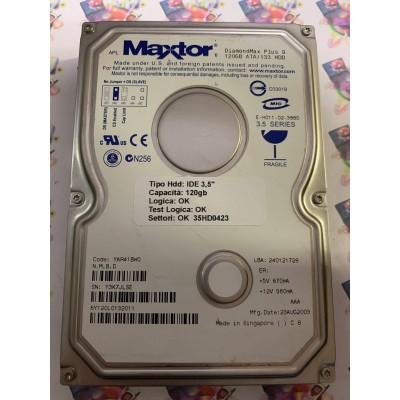 """Hard Disk Usato Funzionante 100% Ok IDE 3,5"""" 120GB MAXTOR 6Y120L0 6Y120L0132011 YAR41BW0 23 AUG 2003"""