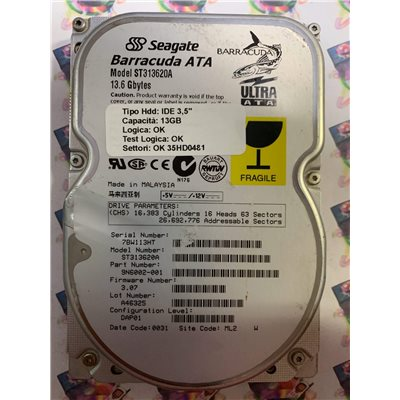 """Hard Disk Usato Funzionante 100% Ok IDE 3,5"""" 13.6GB SEAGATE ST313620A 9N6002-001 3.07 0031 ML2"""