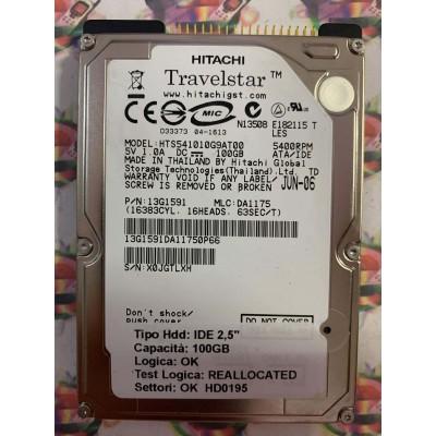 """Hard Disk Usato Semifunzionante IDE 2,5"""" 100GB HITACHI HTS541010G9AT00 13G1591 DA1175 JUN-06"""