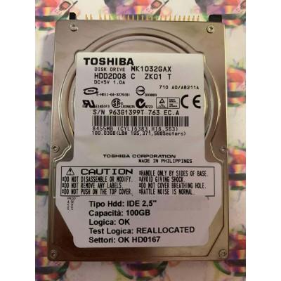 """Hard Disk Usato Semifunzionante IDE 2,5"""" 100GB TOSHIBA MK1032GAX HDD2D08 C ZK01 T"""