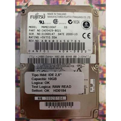 """Hard Disk Usato Semifunzionante IDE 2,5"""" 10GB FUJITSU MHM2100AT CA05429-B021 2000-10"""