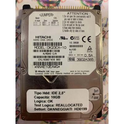 "Hard Disk Usato Semifunzionante IDE 2,5"" 10GB HITACHI DK23CA-10 A/A0A3 C/A AJ100 17"