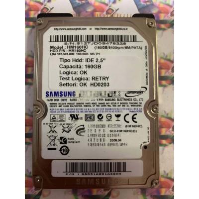 """Hard Disk Usato Semifunzionante IDE 2,5"""" 160GB SAMSUNG HM160HC 28831A221A4GHN 2009.04"""