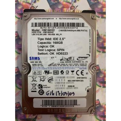 """Hard Disk Usato Semifunzionante IDE 2,5"""" 160GB SAMSUNG HM160HC 28831A221A1CCE 2009.02"""
