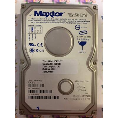 """Hard Disk Usato Funzionante 100% Ok IDE 3,5"""" 120GB MAXTOR 6Y120P0 6Y120P0032211 YAR41BW0 05 MAR 2004"""