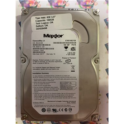 "Hard Disk Usato Funzionante 100% Ok IDE 3,5"" 160GB MAXTOR STM3160215A 9DS012-327 3.AAD 08177 TK"