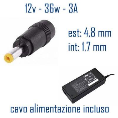 Alimentatore Compatibile 36W 12V 3A 4,8 x 1,7mm Cavo Alimentazione Incluso