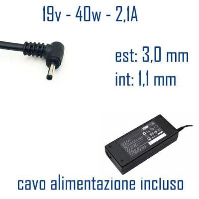 Alimentatore Compatibile 40W 19V 2,1A 3,0 x 1,1mm Cavo Alimentazione Incluso
