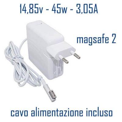 Alimentatore Compatibile 45W 14,85V 3,05A Magsafe 2 Apple Cavo Alimentazione Incluso