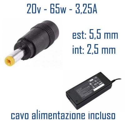 Alimentatore Compatibile 65W 20V 3,25A 5,5 x 2,5mm Cavo Alimentazione Incluso