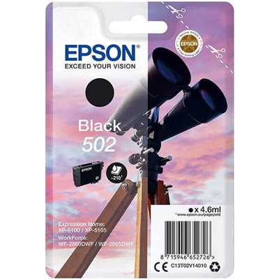 Cartuccia Originale Epson C13T02V14010 502 Bk Nero 4,6ml 210 Pagine