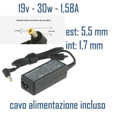 Alimentatore Compatibile 30W 19V 1,58A 5,5mm x 1,7mm Cavo Alimentazione Incluso