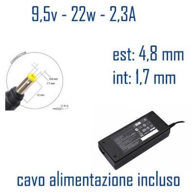 Alimentatore Compatibile 22W 9,5V 2,3A 4,8MM x 1,7mm Cavo Alimentazione Incluso