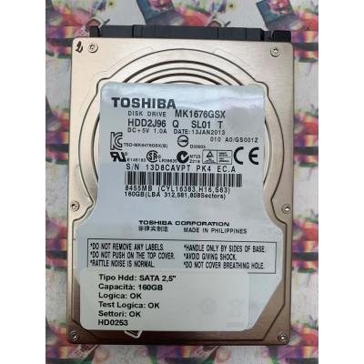 "Hard Disk Usato Funzionante 100% SATA 2,5"" 160GB TOSHIBA MK1676GSX HDD2J96 Q SL01 T 13 JAN 2013"