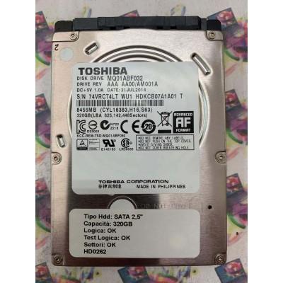 "Hard Disk Usato Funzionante 100% SATA 2,5"" 320GB TOSHIBA MQ01ABF032 AAA AA00 AM001A 31 JUL 2014"