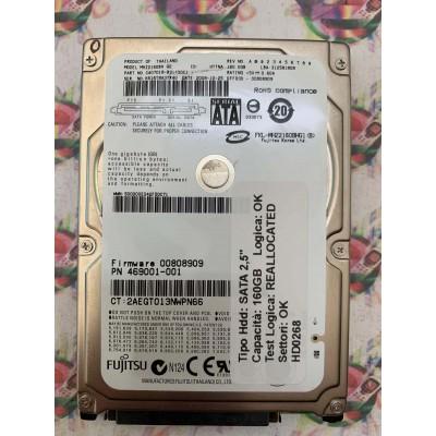 """Hard Disk Usato Semifunzionante SATA 2,5"""" 160GB FUJITSU MHZ2160BH CA07018-B31400G1 2008-10-25"""