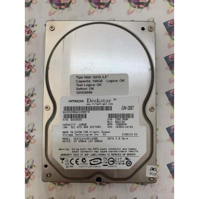"""Hard Disk Usato Funzionante 100% OK SATA 3,5"""" 160GB HITACHI HDS721616PLA380 BA2165 0A33535 JUN 2007"""
