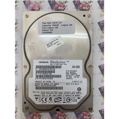 "Hard Disk Usato Funzionante 100% OK SATA 3,5"" 160GB HITACHI HDS721616PLA380 0A33932 BA2357 JAN-2008"