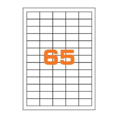 Confezione 50 Fogli da 65 Etichette su foglio A4 di Etichette Adesive 40x20mm 80gr