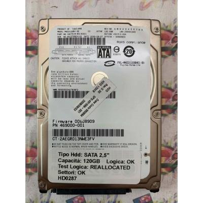 """Hard Disk Usato Semifunzionante SATA 2,5"""" 120GB FUJITSU MHZ2120BH CA07018-B31300C1 2008-08"""