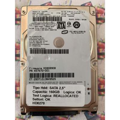 "Hard Disk Usato Semifunzionante SATA 2,5"" 160GB FUJITSU MHY2160BH 457670-001 0080890B"